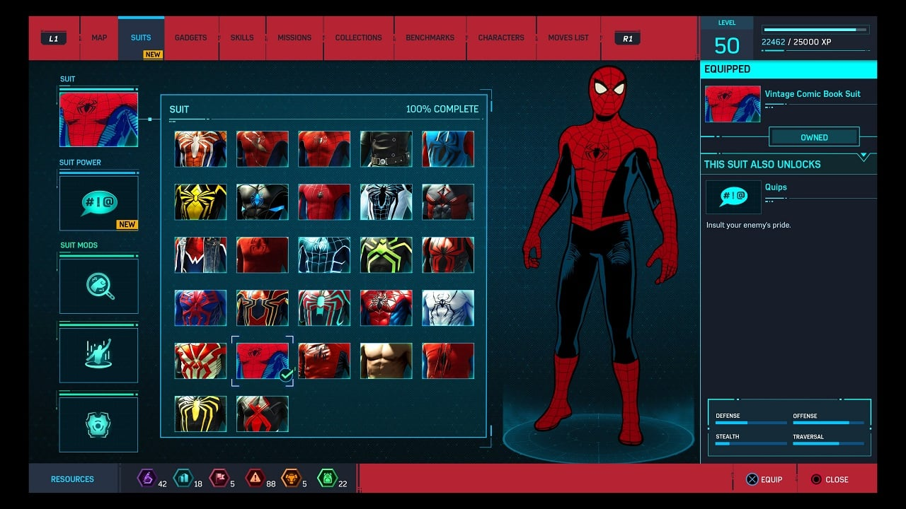 Marvel's spider-man - menu